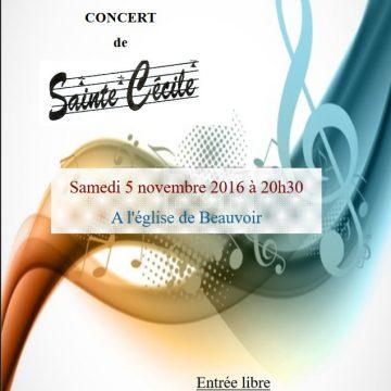 Concert de Ste Cécile à Beauvoir – Samedi 5 novembre à 20h30