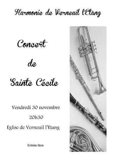 30 novembre 2018 à 20h30 - Concert de Sainte Cécile en l'Eglise de Verneuil l'Etang
