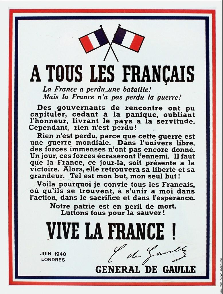 Cérémonie - Appel du 18 juin 1940
