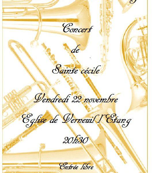 22 novembre 2019 à 20h30 – Concert de Sainte Cécile en l'Eglise de Verneuil l'Etang
