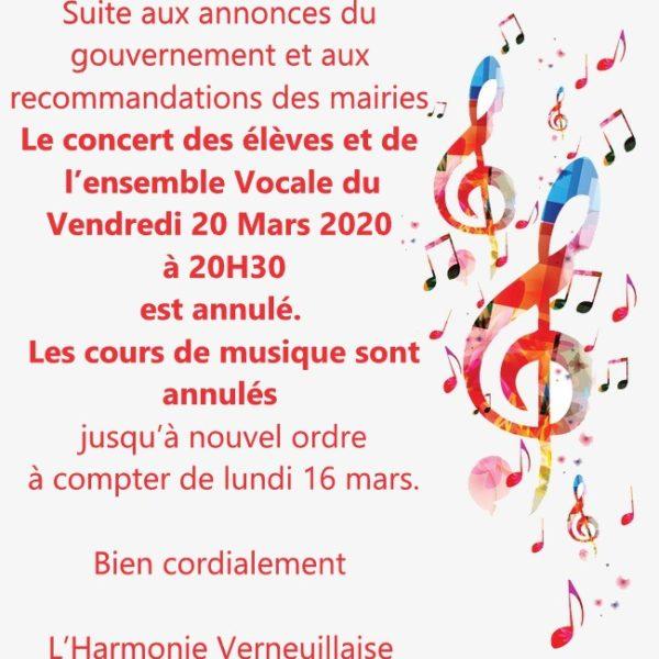 Concert des élèves et de l'ensemble vocale Annulé